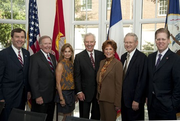 Hart Center Announcement - From left to right are R. Gerald Turner, SMU President; Bobby B. Lyle, SMU trustee and engineering school namesake; Karen Shuford, philanthropist and Lyle School Executive Board member; Mitch Hart, chairman of Hart Group, Inc.; Linda Hart, chairman of Imation Corp.; Art De Geus, chairman and CEO of Silicon Valley company Synopsis and Geoffrey Orsak, dean of the SMU's Lyle School of Engineering