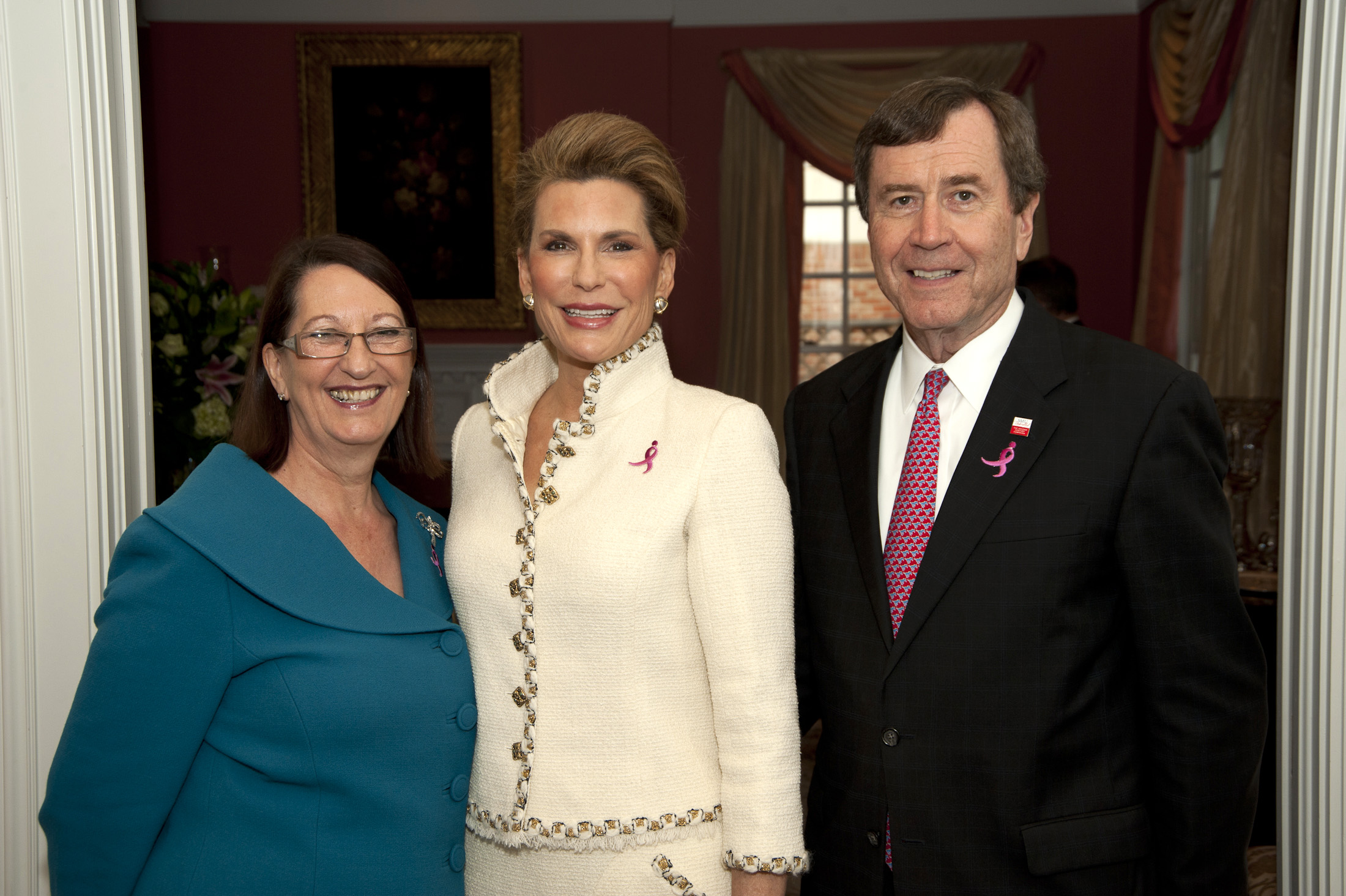 (l. to r.) Dean Gillian M. McCombs, Director of SMU's Central University Libraries, Ambassador Nancy G. Brinker, founder and CEO of Susan G. Komen for the Cure, and SMU President R. Gerald Turner at a reception announcing the partnership between SMU's DeGolyer Library and Susan G. Komen for the Cure® to preserve and chronicle the history of the international organization dedicated to fighting breast cancer.