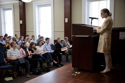 Ruth Bader Ginsburg speaks to a class at SMU
