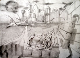 Karma by SIMON N of North Dallas High School - pencil and ink on paper