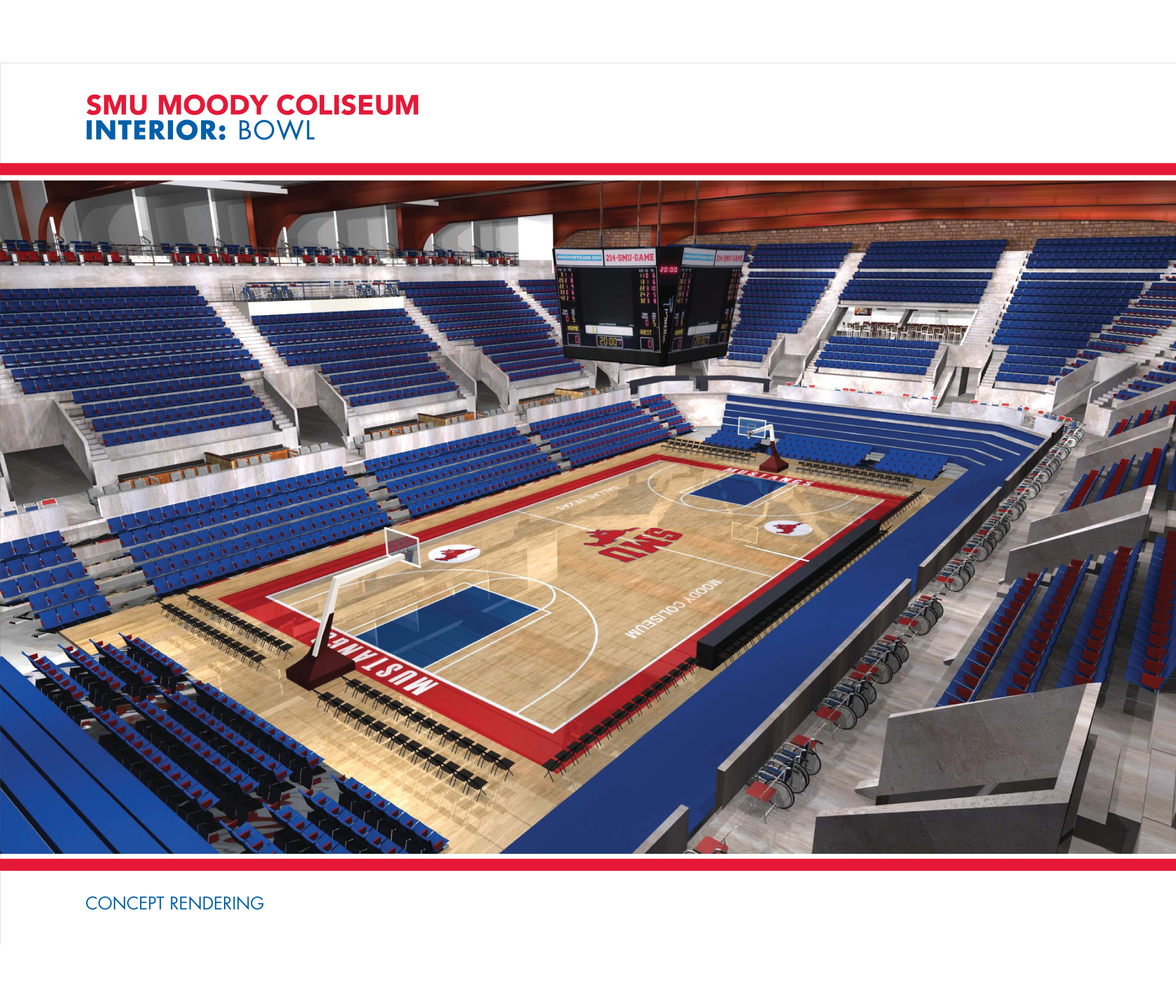 Rendering of the Interior Bowl for SMU's Moody Coliseum
