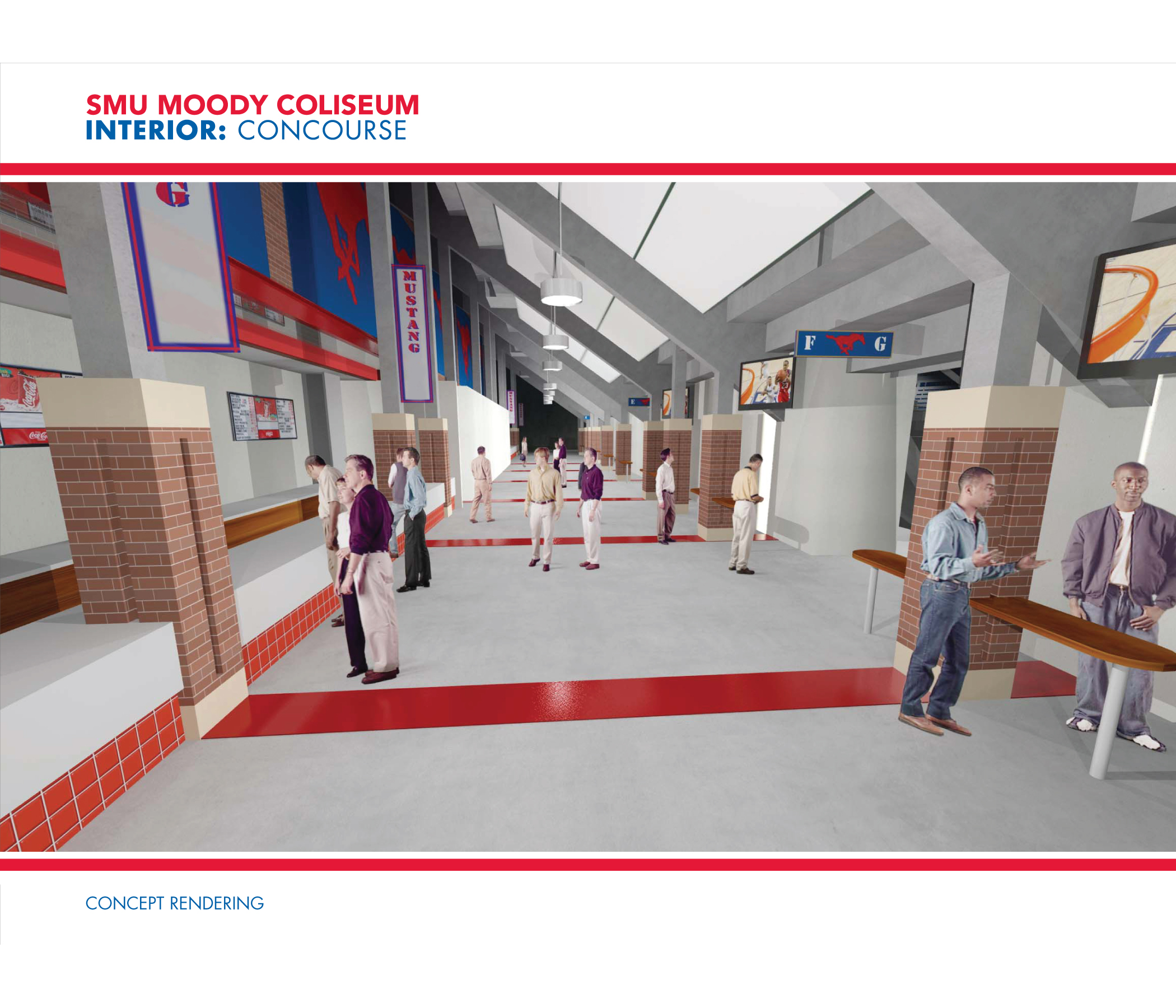 Rendering of the Interior Concourse for SMU's Moody Coliseum