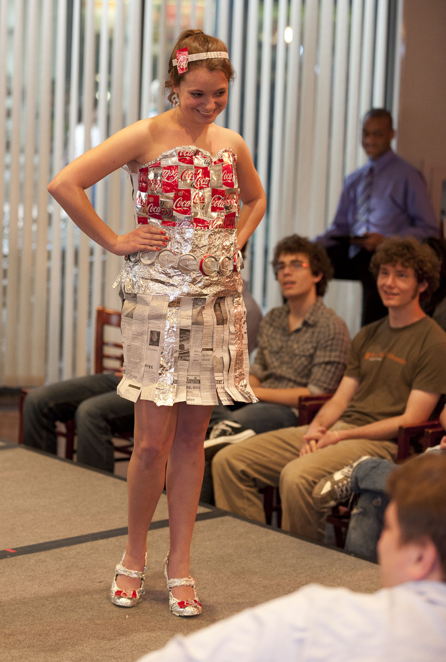 First-year advertising student Mackenzie Keck exhibits a can-do spirit in this strapless dress featuring aluminum cans.