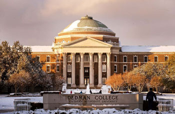 Snowfall on SMU's Main Quad in February 2011