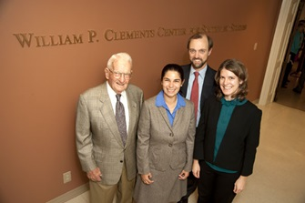 Bill Clements with Clements Center Fellows Sarah Cornell, Norwood Andrews, and Cathleen Cahill.