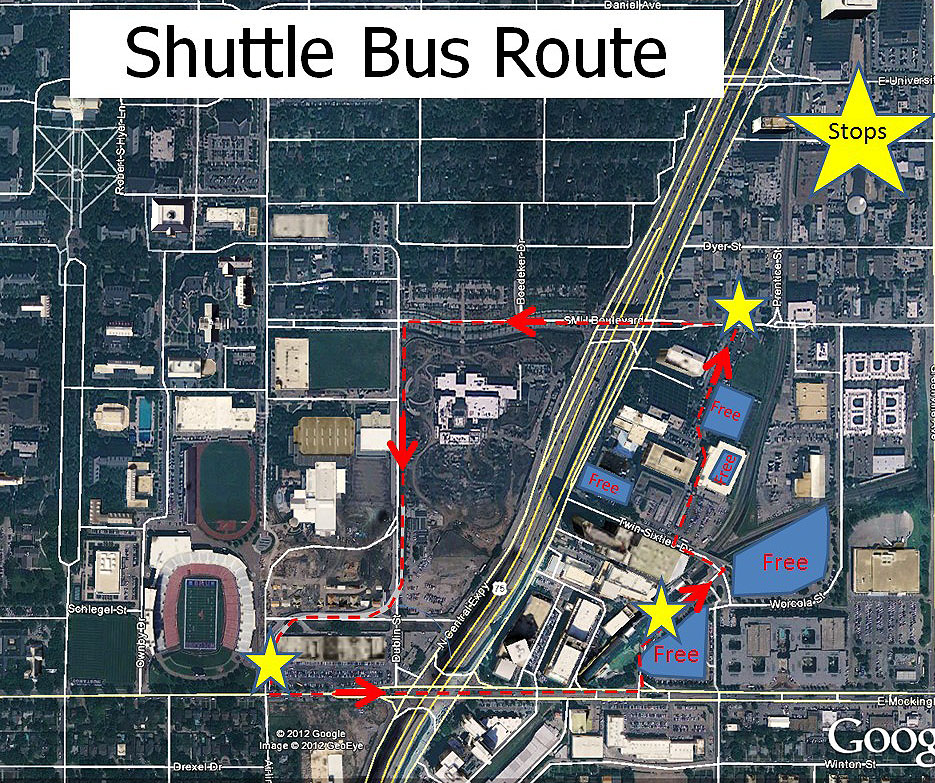 Game Day 2012 Shuttle Route  Map