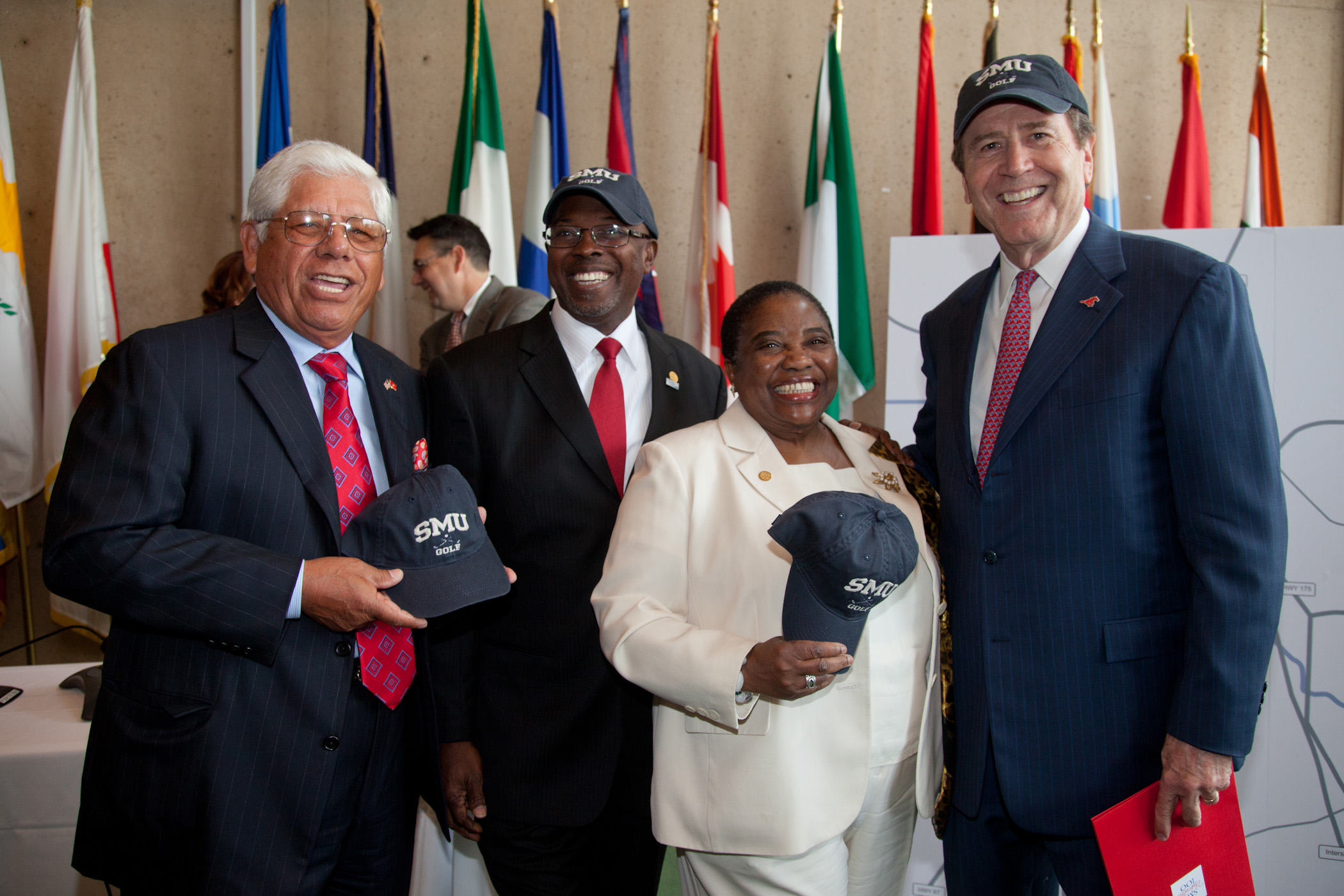 Professional Golfer Lee Trevino, Dallas Deputy Mayor Pro Tem Tennell Atkins, Dallas City Councilwoman Vonciel Jones Hill, and SMU President R. Gerald Turner