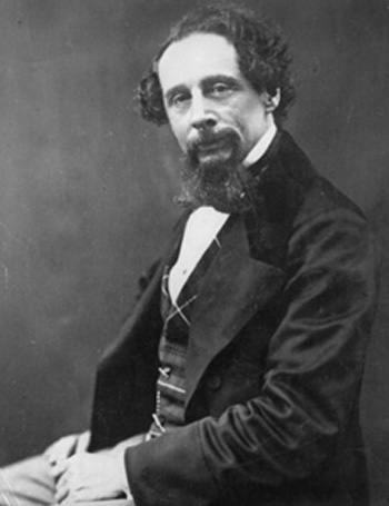 A portrait of Charles Dickens wearing a tartan waistcoat, photographed by G. Herbert Watkins in 1858.