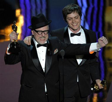 William Joyce and Brandon Oldenburg accept the Oscar for best-animated short film for 'The Fantastic Flying Books of Mr. Morris Lessmore' during the 84th Academy Awards on Sunday, Feb. 26, 2012