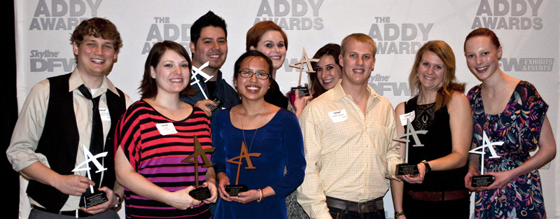 TAI Addy winning students - Back row L to R: Matt Villanueva, Kellyn Dunn, Megan Lee - Front row L to R: Chris Vandersall, Samantha Roppolo, Monika Hoang, Jordan Spencer, Christi Parrott,  Adrian Hilliard