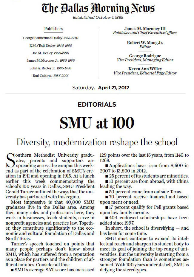 Dallas Morning News Editorial on SMU at 100