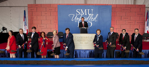 Groundbreaking of SMU's new Residential Commons on 20 April 2012.