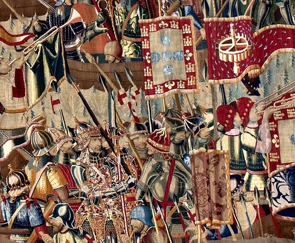 Probably produced under the direction of Passchier Grenier, tapestry merchant, Tournai (Belgium), detail, 1470s, Landing at Asilah (detail), 1475-1500, wool and silk,