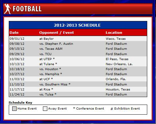 SMU 2012 Football Schedult
