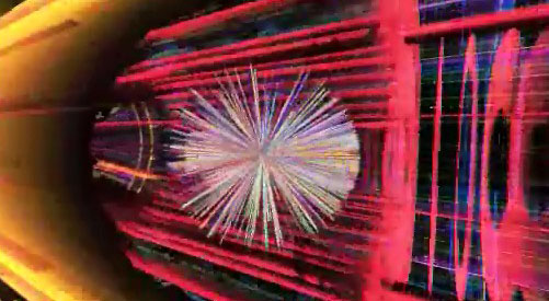 Screen shot from a CERN video animation of a heavy ion collision event.