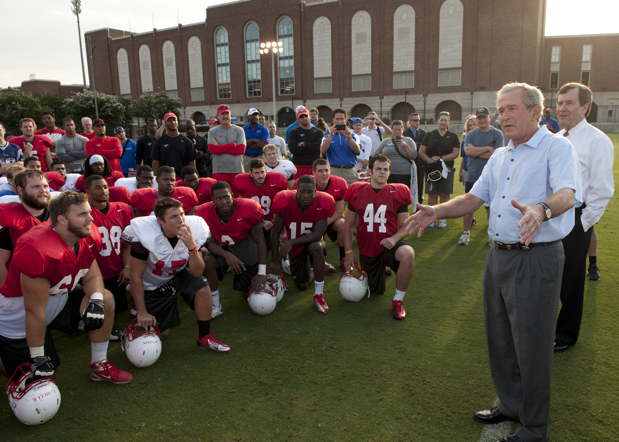 Former President George W. Bush at a SMU Mustangs football practice.
