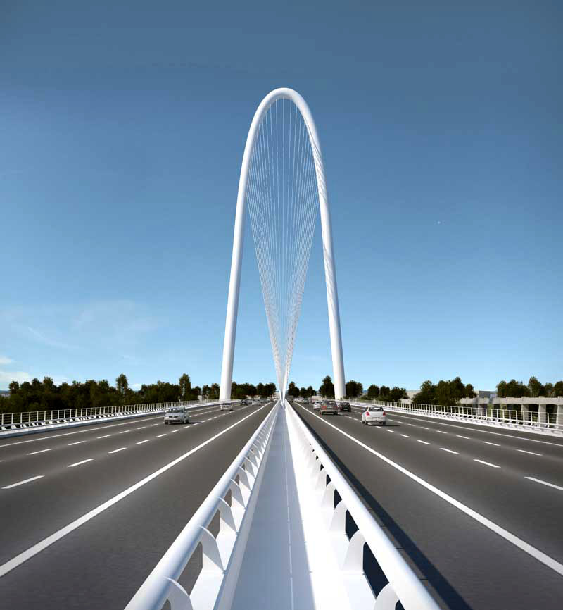 Artist's rendering of the Margaret Hunt Hill Bridge into West Dallas