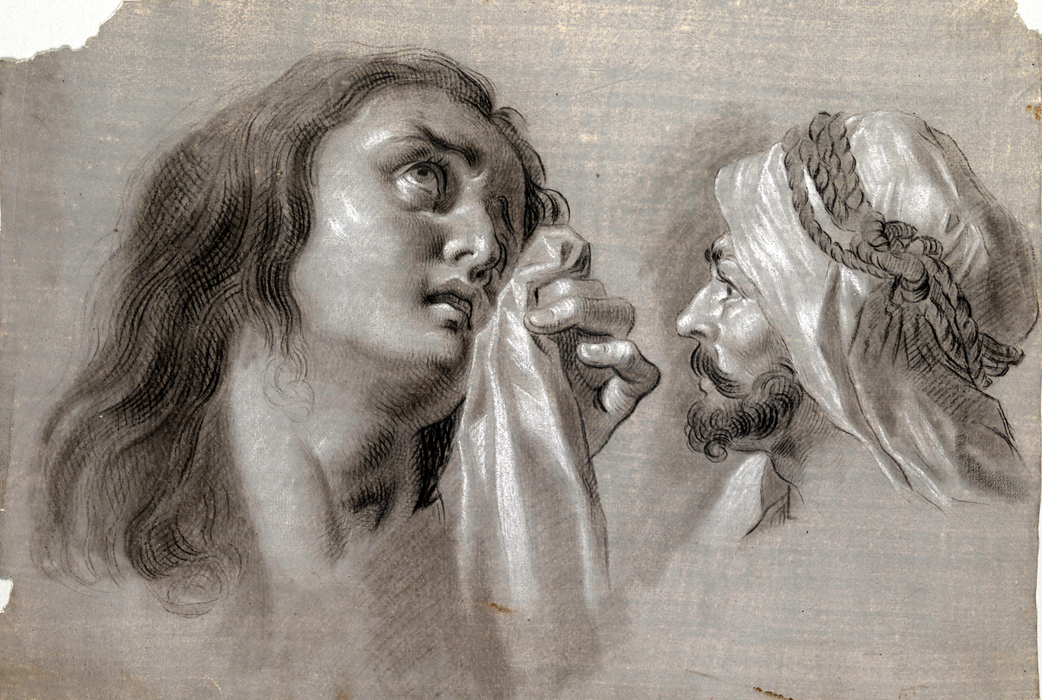 Zacarías González Velázquez (Spanish, 1763-1834), Mary Magdalene and Head of a Moor, 1793. Black chalk, wash and white chalk highlights on grey tinted paper. Meadows Museum, SMU, Dallas. Museum Purchase with funds generously provided by a Challenge Grant by the Gill Family in honor of their daughter, Anju Gill