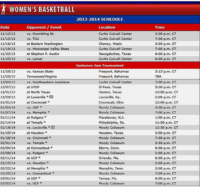 SMU Women's Basketball Schedule 2013-14