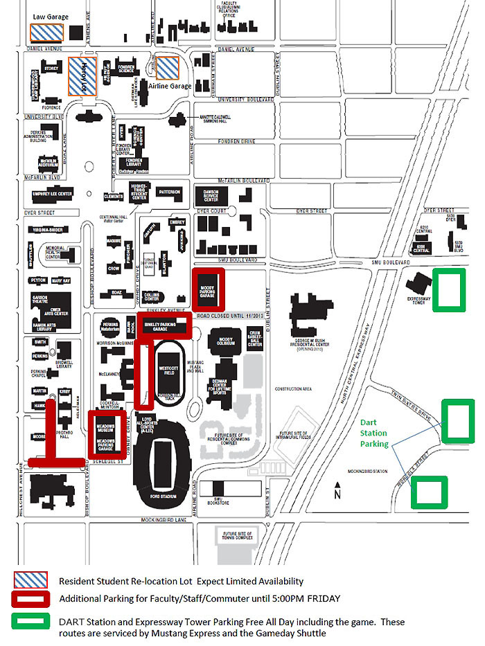 Game Day parking for faculty and staff for 30 August 2013