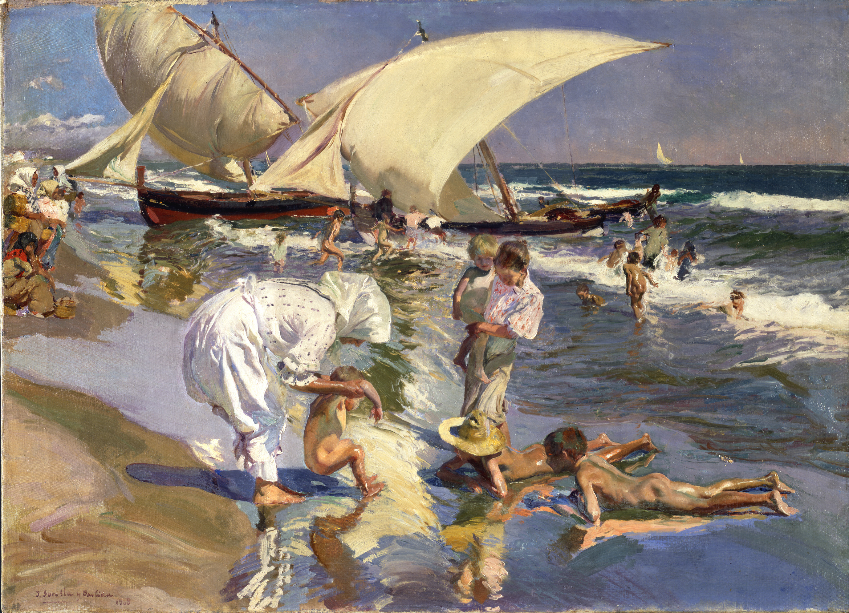 Valencia Beach - Joaquín Sorolla y Bastida (Spanish, 1863-1923), Valencia Beach: Morning Light, 1908, oil on canvas. The Hispanic Society of America, A2137