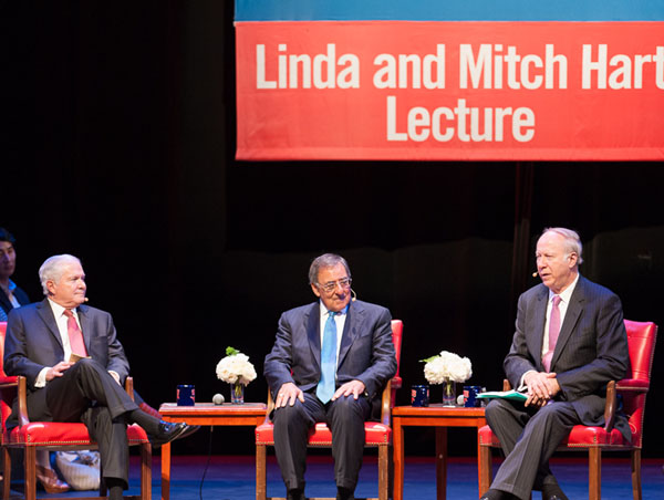Former Secretaries of Defense Robert M. Gates and Leon E. Panetta with CNN political analyst David Gergen at SMU on 17 September 2013