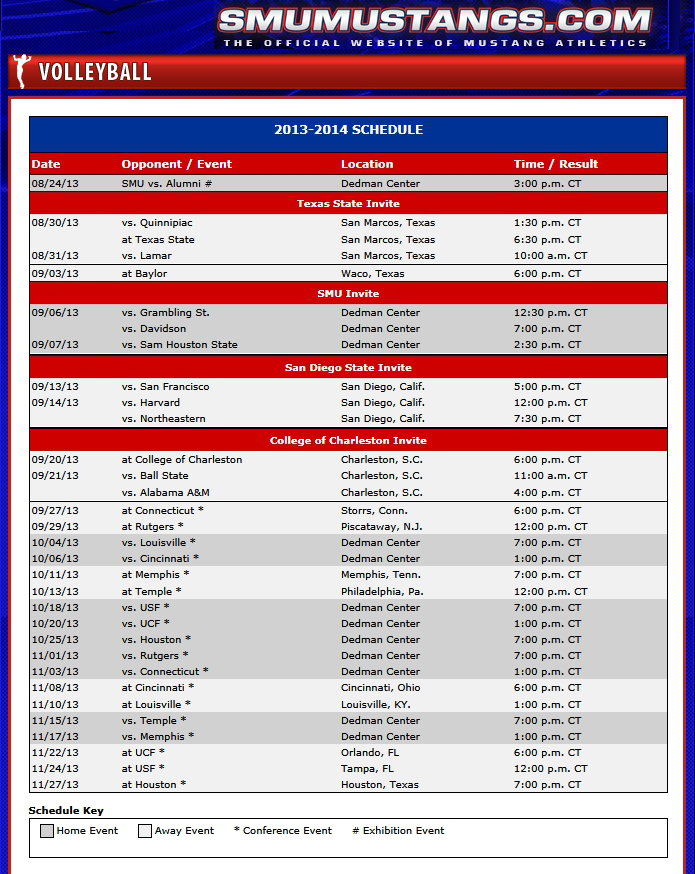 SMU Volleyball Schedule