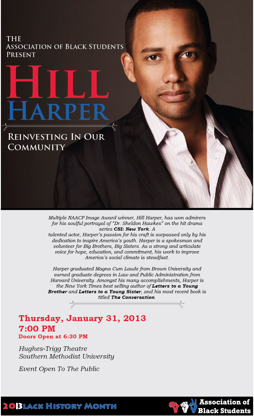 Hill Harper to speak at Southern Methodist University on 31 January 2013