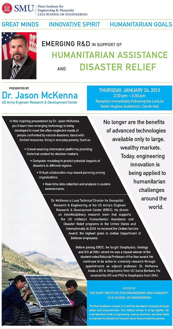 Jason McKenna lecture at SMU on 24 January 2013