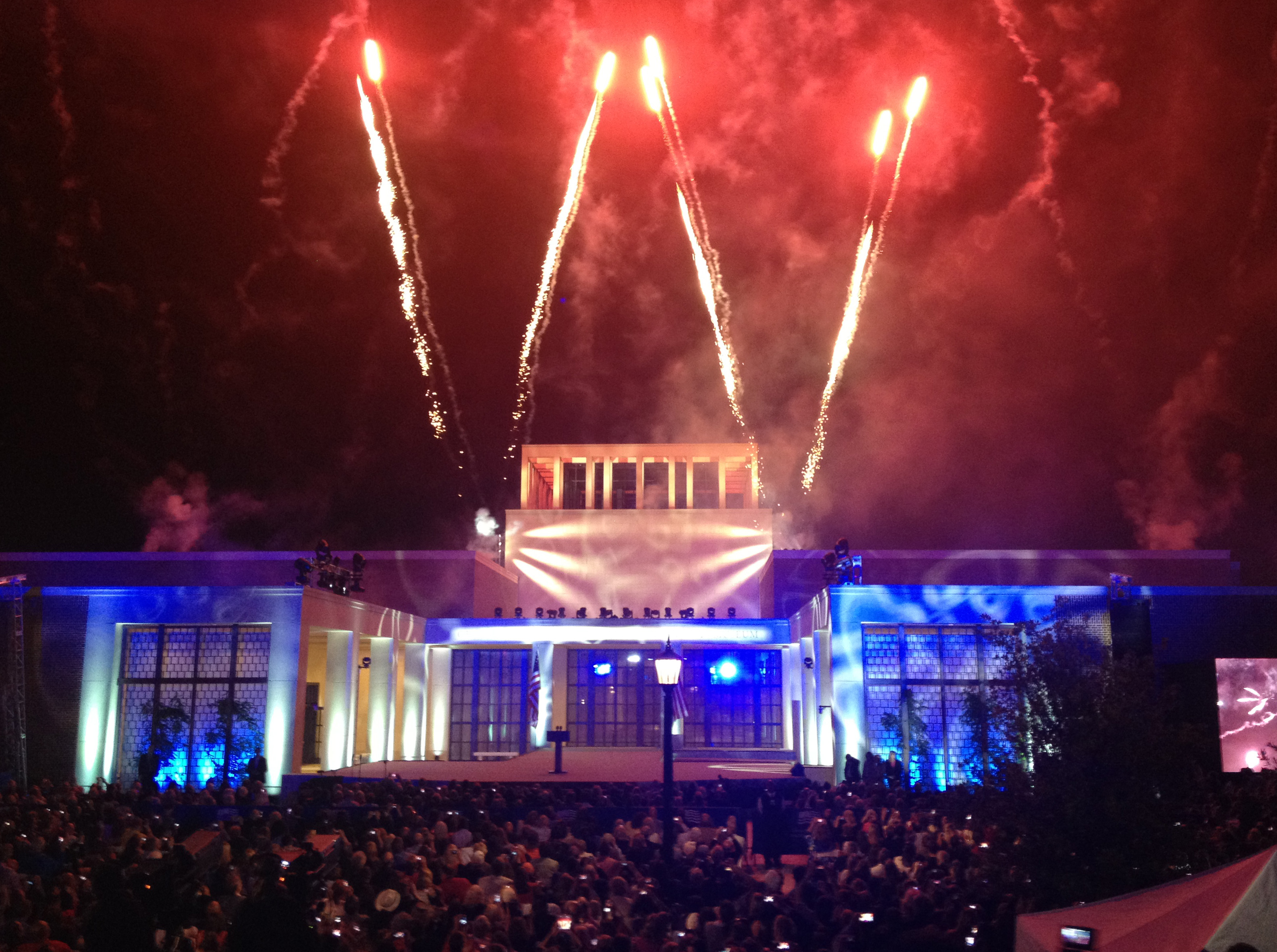 Fireworks form a W at SMU's Block Party celebrating the dedication of the George W. Bush Presidential Center.