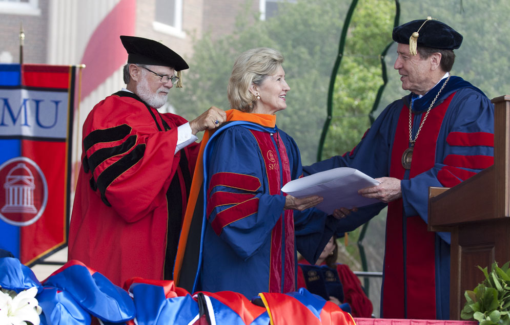 Former U.S. Sen. Kay Bailey Hutchison receive honorary degree from SMU President R. Gerald Turner