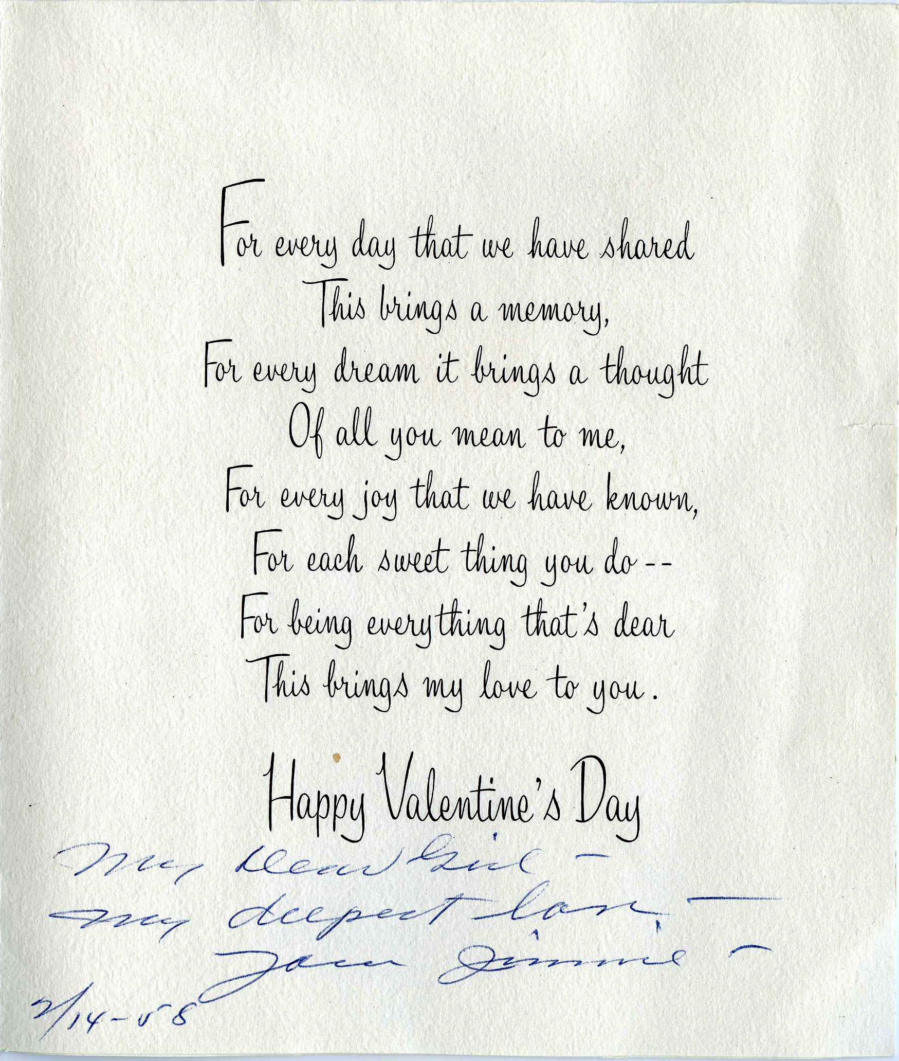 To My Valentine From Mr Jc Penney Smu