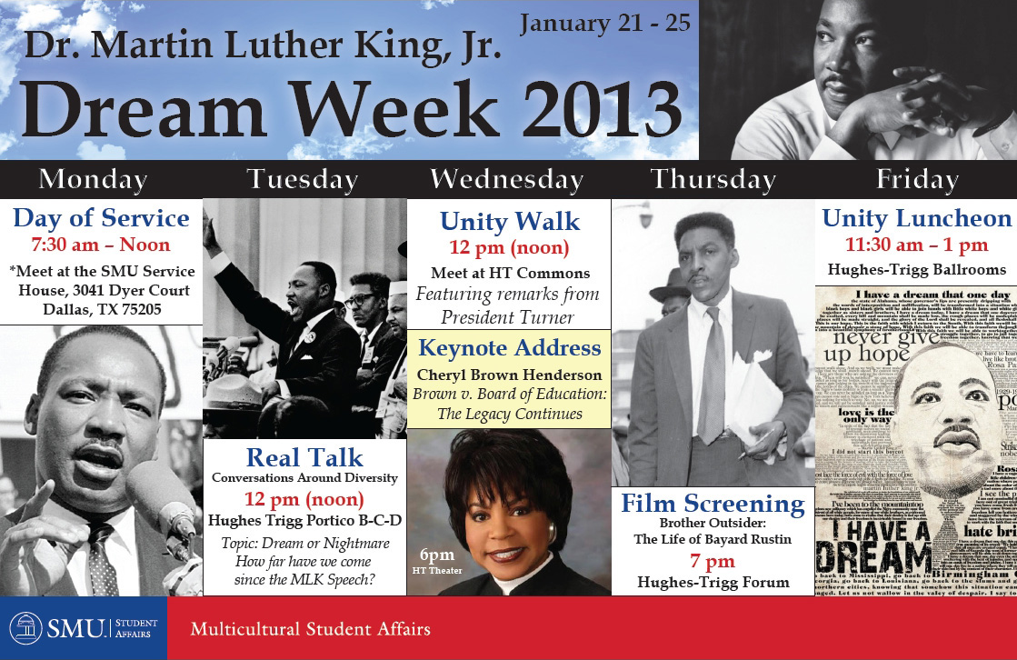 Martin Luther King Jr. Dream Week poster at SMU
