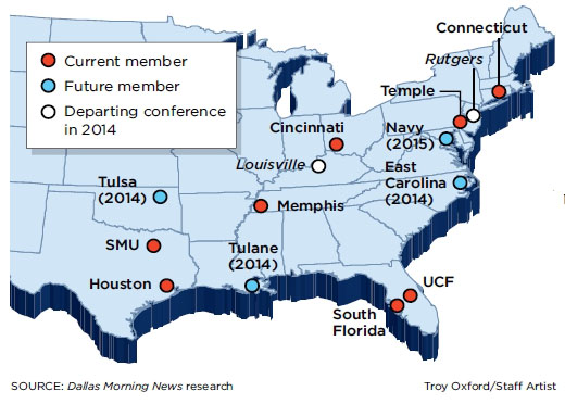 American Athletic Conference Map