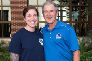 Hannah Wood, a U.S. Navy veteran and SMU Maguire Ethics Center staffer, with former Pres. George W. Bush