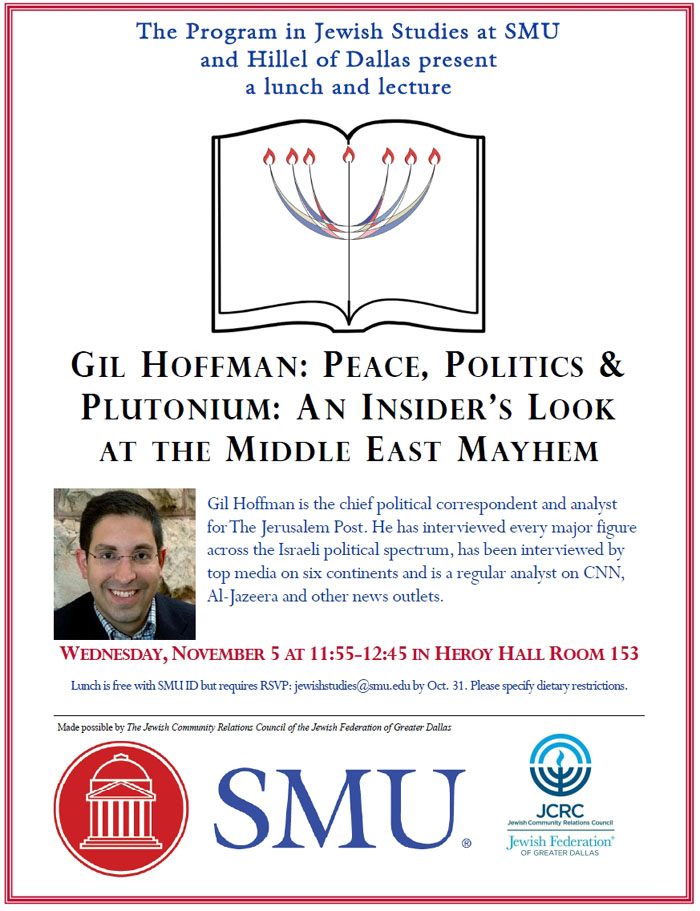 SMU Religious Studies lecture features journalist Gil Hoffman