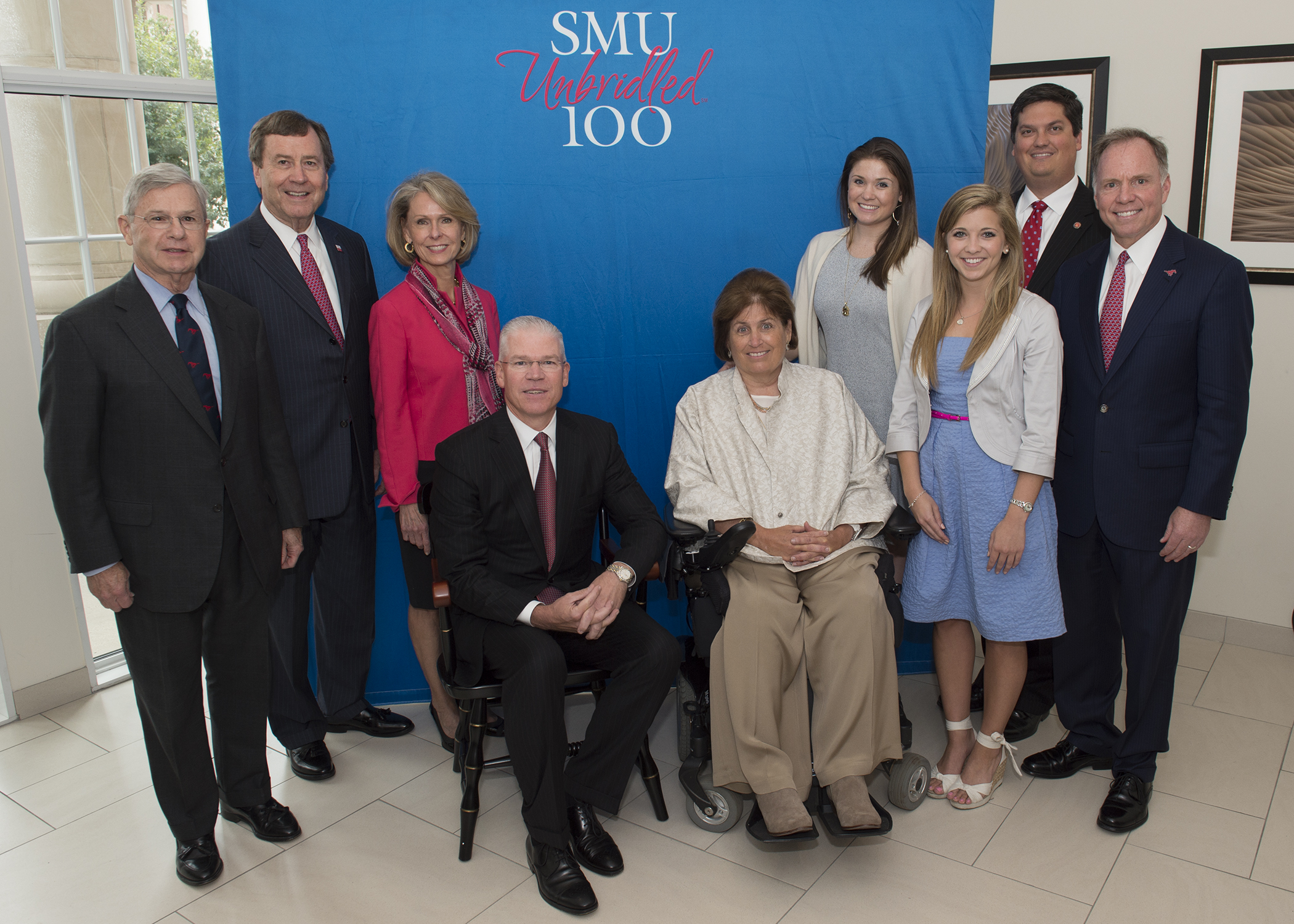SMU Board of Trustees Chair Michael M. Boone, SMU President R. Gerald Turner, Mrs. Gail Turner, Richard Templeton, Mary Templeton, daughter Stephanie Templeton, engineering student Elizabeth (Liz) Dubret, Lyle Engineering School Dean Marc P. Christensen, and Brad E. Cheves, SMU Vice President for Development and External Affairs.