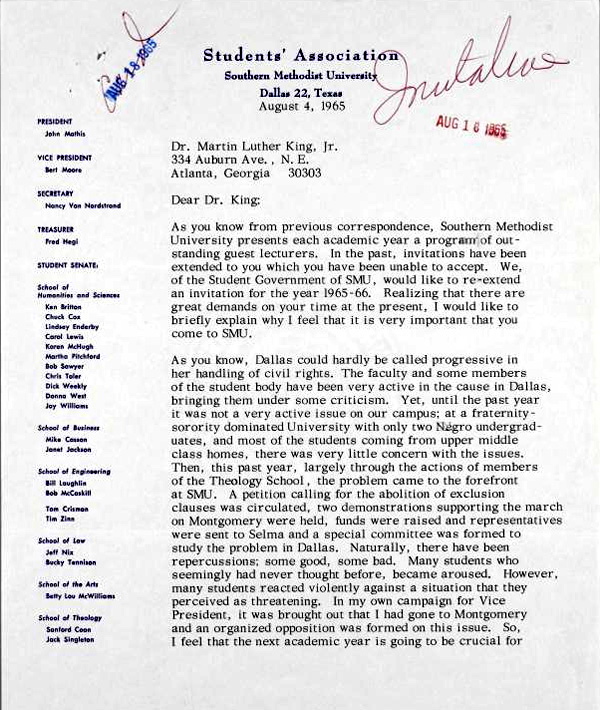 Letter of invitation to Dr. Martin Luther King Jr. from the Student Senate