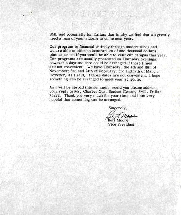 letter of invitation to dr martin luther king jr from the student senate