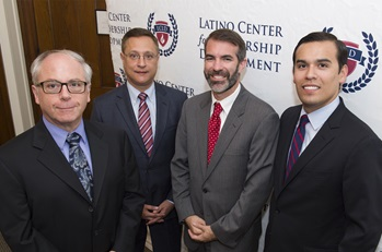 From left, Thomas DiPiero, dean of SMU's Dedman College of Humanities and Sciences; Jorge Baldor, Latino CLD founder and SMU alumnus ('93); Joshua Rovner, acting director of SMU's Tower Center; and Miguel Solis, Latino CLD.