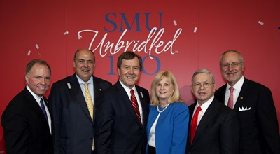 Brad E. Cheves, SMU vice president for Development and External Affairs; Mark A. Roglán, director of the Meadows Museum; SMU President R. Gerald Turner; Linda P. Evans, chairman and CEO of The Meadows Foundation; Michael M. Boone, chair of the SMU Board of Trustees; and Sam Holland, dean of the SMU Meadows School of the Arts.