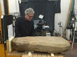 SMU archaeologist Gregory Warden with Etruscan tablet