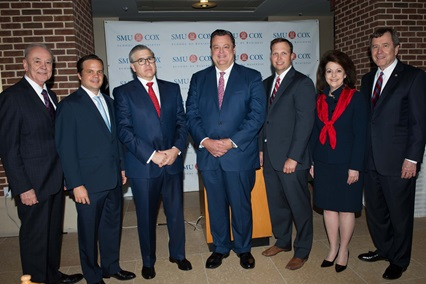 (left to right) Al Niemi, Dean of the Cox School of Business; Bryan Sheffield, BBA '01 and 2016 SMU Cox Outstanding Young Alumnus; John Santa Maria Otazua, BBA '79 , MBA '81 and 2016 SMU Cox Distinguished Alumnus;  Michael Merriman, BBA '79 and 2016 SMU Cox Distinguished Alumnus; Jason Signor, MBA '04 and 2016 SMU Cox Outstanding Young Alumnus; Billie Ida Williamson, BBA '74 and 2016 SMU Cox Distinguished Alumna; and R. Gerald Turner, SMU President.