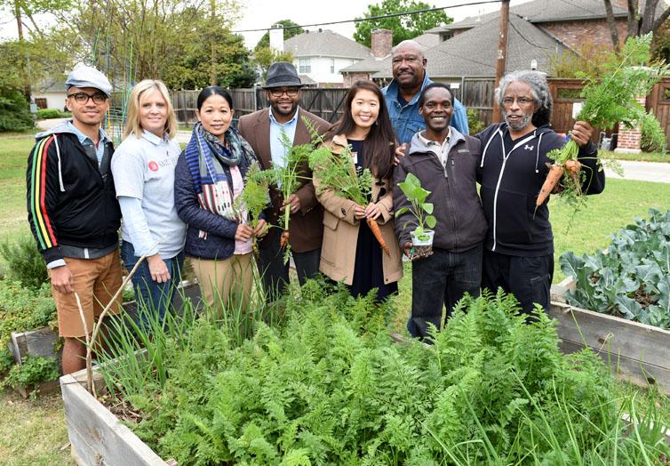 community gardening. SMU Community Garden Gardening N