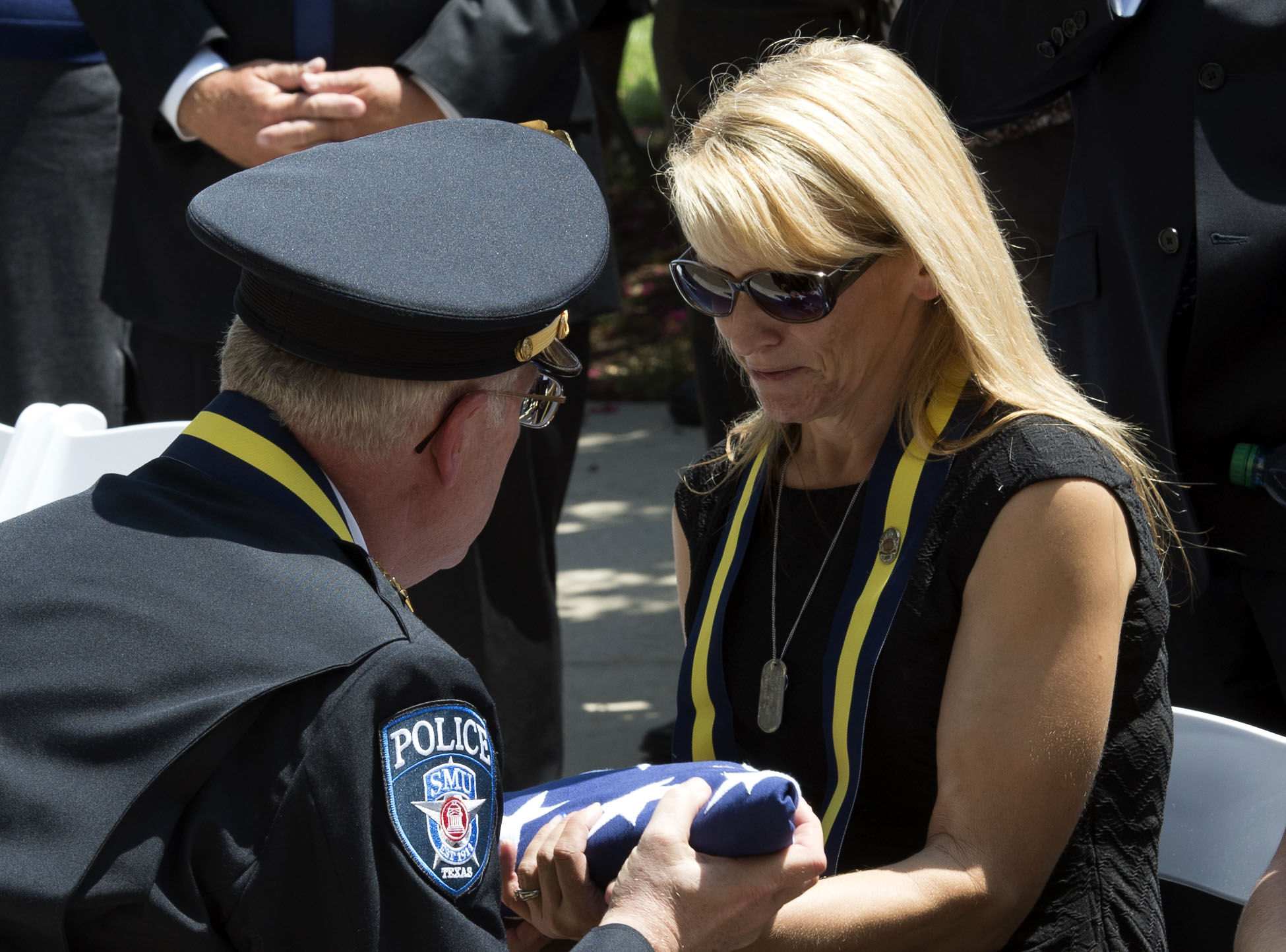 U.S. flag presented to Tiffany McCullers at memorial service for Mark McCullers on 28 July 2016