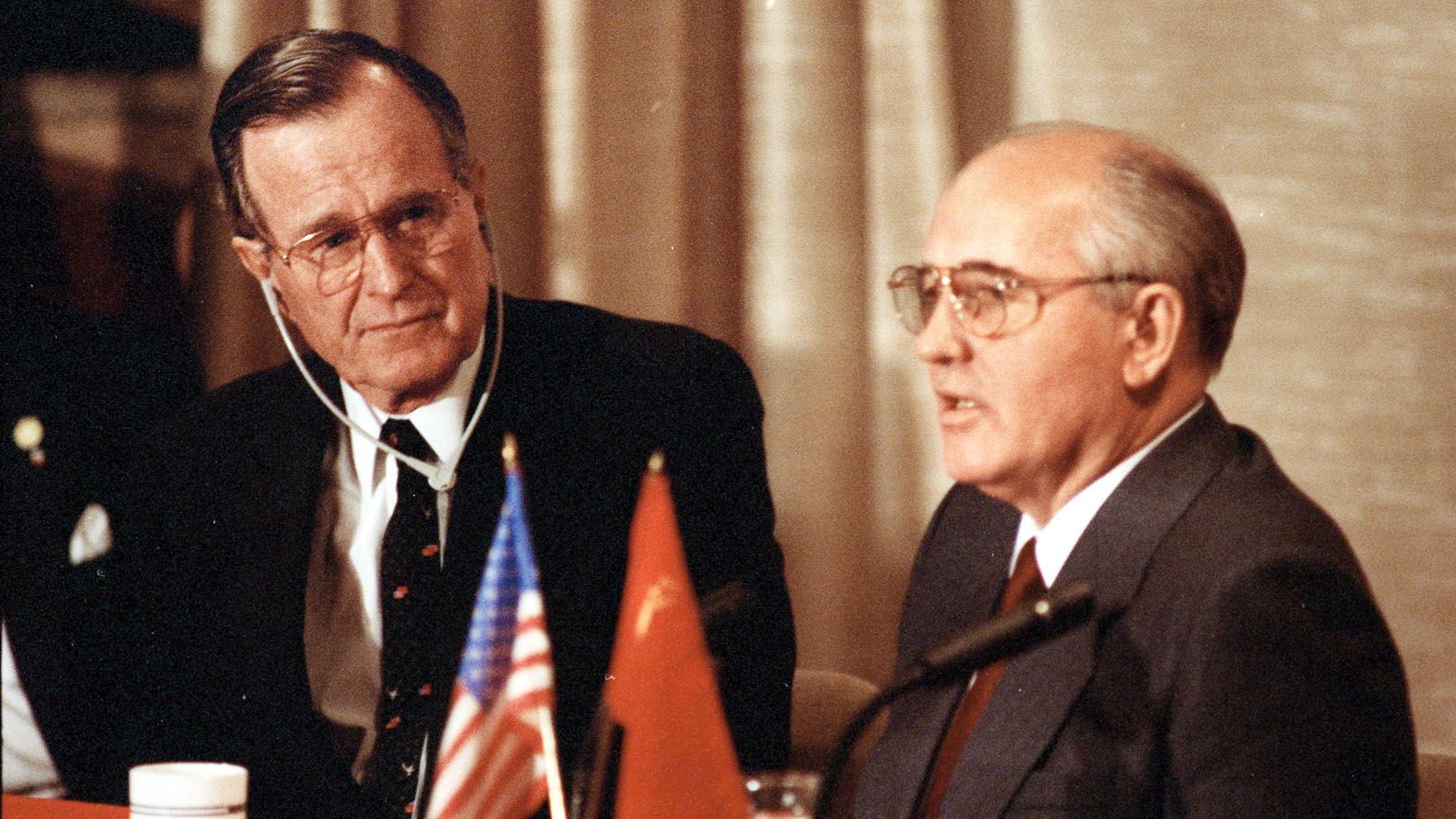 Bush and Gorbachev at Malta, December 1989 - the first time ever that an American President and Soviet General Secretary held a simultaneous joint press conference.
