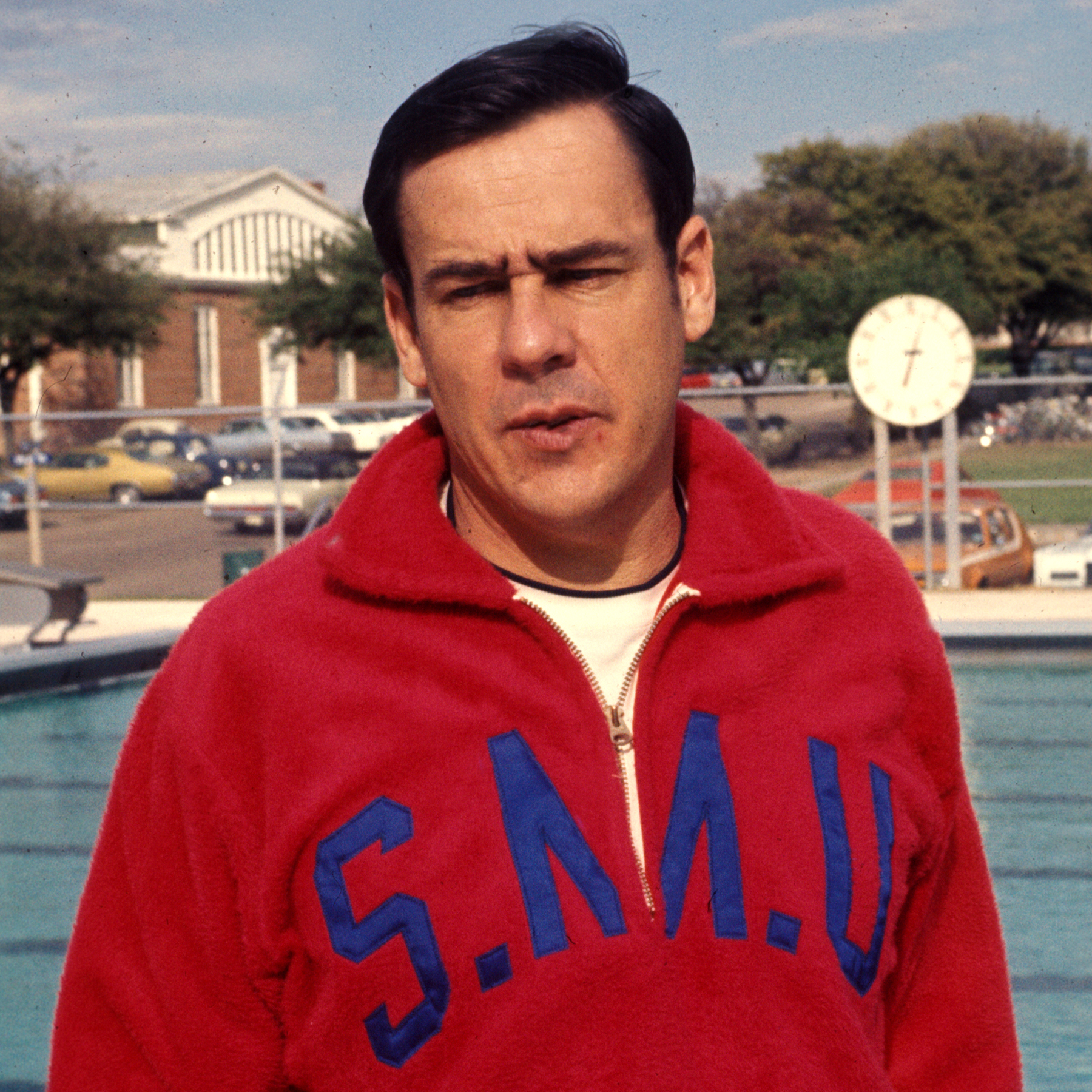 SMU swimming coach George McMillion