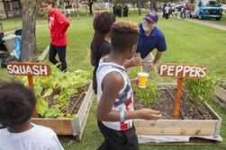 Associate Professor Owen Lynch, right, talks with youngsters about tending a successful garden.