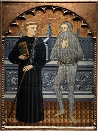 Title: Pere Vall, 'Saints Benedict and Onuphrius' (c. 1410) - Description: Saints Benedict and Onuphrius stand on a floor of patterned geometric tiles before what appears to be a high stone settle, its front decorated with arabesque vines and foliate ornament. On the left, Saint Benedict wears the black habit of his order, with the book of his teachings in his right hand and a crozier in his left. He appears to look towards his companion, his tonsured head shown in three-quarter profile. Onuphrius, on the right, does not return his counterpart's gaze but instead looks straight out at the viewer, his hands raised in a gesture of prayer. He is shown, as is conventional, in his eremitic state, his body covered with long grey hair and a wreath of vines wrapped for modesty around his loins.
