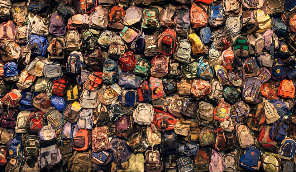 Backpack Wall by Richard Barnes